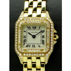 Panthere Lady, 18 kt yellow gold, bezel and case diamonds