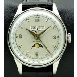 Vintage Triple Calendar Moonphase Stainless Steel, from 60s, Like New