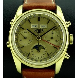 """""""Golden Hours"""" Chronograph Triple Date and Moonphase 18kt Yellow Gold made in the 1980's"""
