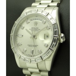 Day Date Platinum, ref.118366, Baguette Bezel and Diamonds Dial, full set