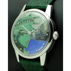 "Stainless Steel, Cloisonné Enamel Dial "" Statue of Liberty """