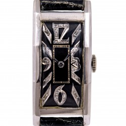 Art Decò Vintage Palladium case, Black Diamonds dial