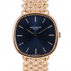 Golden Ellipse 18kt yellow gold, ref.3844, from 70s, Blue dial
