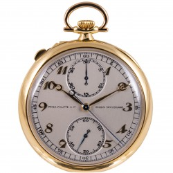 18K Yellow Gold, Split Seconds Chonograph Pocket Watch from 1926