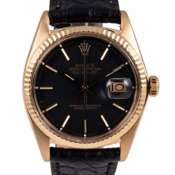 Datejust Ref. 1601, 18kt Yellow Gold and Black Dial, from 1972