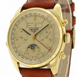 """Golden Hours"" Chronograph Triple Date and Moonphase 18kt Yellow Gold made in the 1980's"