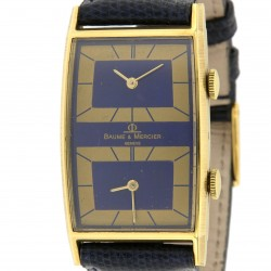 Rectangular Dual Time Zone, 18K Yellow Gold
