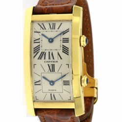 Tank Cintrée, Double Time Zone 18kt yellow gold