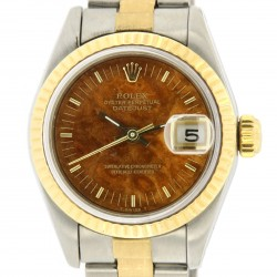 Lady Datejust, Stainless steel and18kt yellow gold, wood dial