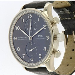 IWC Portuguese Chronograph Ref.371473 in white gold with Diamond Bezel, like new, full set