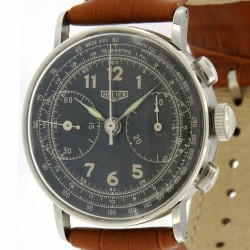 Vintage Chronograph Stainless Steel, black dial, from 40s