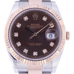 Datejust 41, Steel and 18kt Rose Gold, ref.126331,Chocolate Diamonds Dial, Like New 2020