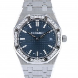 Royal Oak Stainless steel, Diamond bezel, ref. 77351ST, Blue-grey dial, New