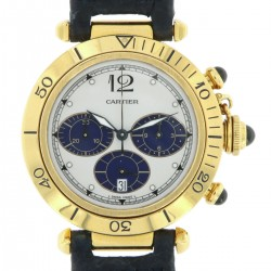 Pasha Chrono Quartz 18 kt yellow gold, blue counters