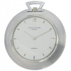 Pocket Watch ref.855, made in 70s, 18K White Gold retailed by Gubelin, full set