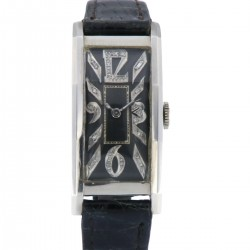 Art Decò Vintage Palladium case, Black Diamonds dial