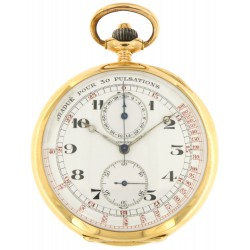 Pocket Watch Chronograph Pulsometer Scale, 18K Rose Gold, from '40