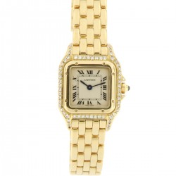 Panthere Lady PM, 18 kt yellow gold, diamonds case and lugs