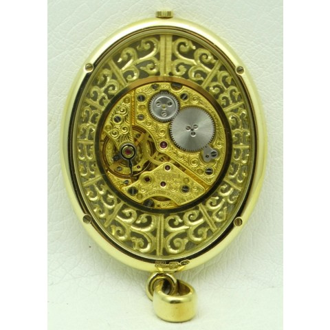 Vintage Oval Skeleton Pendant Watch 18 kt yellow gold
