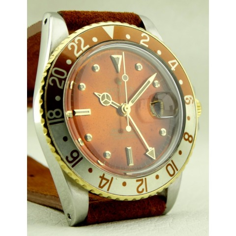 "GMT Master Steel and Gold, ref.16753, Tropical ""Blood Orange"" Root Beer Dial"