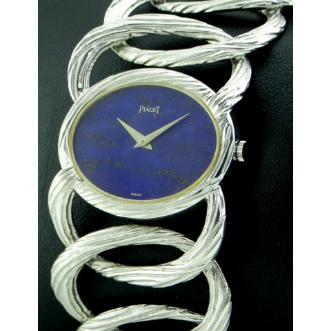 Rare Vintage Lady in 18kt white gold, lapis dial