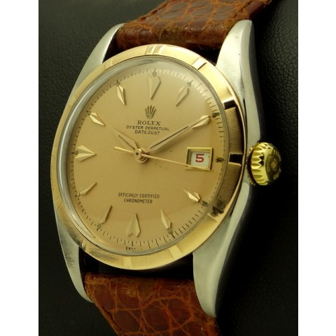 Datejust Steel and Pink Gold, made in 1950, ref. 6075 with Rolex service