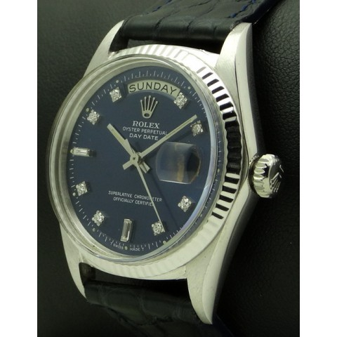 Day-Date, 18 kt white gold, Ref. 1803, Diamonds Blue Dial