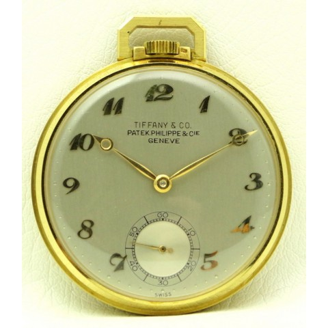 18 kt yellow gold pocket watch, retailed for Tiffany & Co