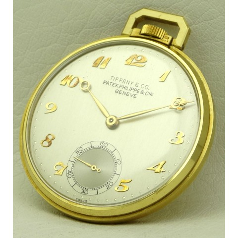 18 kt yellow gold pocket watch, retailed for Tiffany and Co