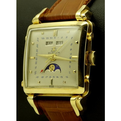 18k Yellow Gold Vintage Square Triple Date Moonphase