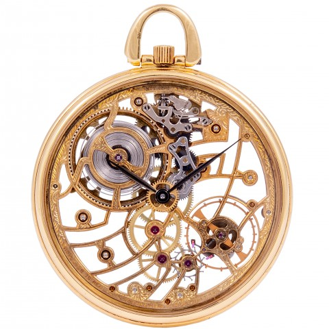 Skeleton 18kt Yellow gold Pocket Watch, from 1987, with Extract AP