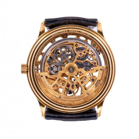 Rare 18kt Yellow Gold Skeleton  Ref. 4232 Automatic Watch, New Old Stock, Full Set