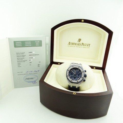 Royal Oak Offshore Lady 18 kt white gold and diamonds, full set