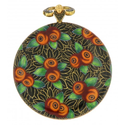 Pocket Watch 18k Yellow Gold, Painted Enamel case, from '20s