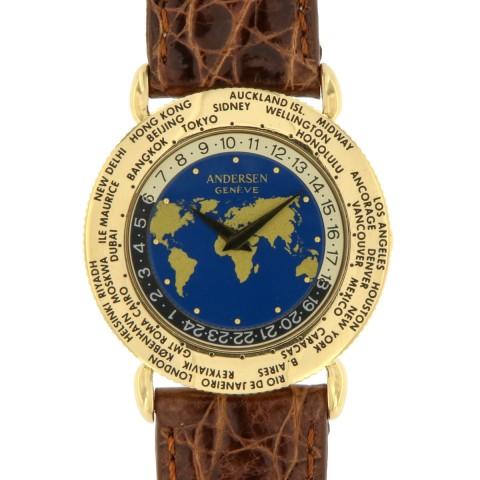 """Worldtime """"Communication"""" 18K yellow gold, from '90s"""