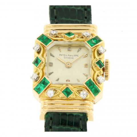 Vintage Lady 18kt Rose Gold with Emeralds and Diamonds set, from fifties
