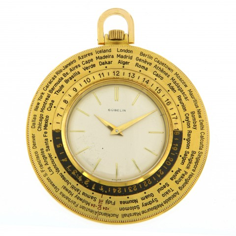 World time pocket watch, plated yellow gold, white dial
