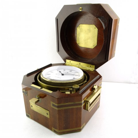 Naval Clock in brass and wood box, from 1986, full set