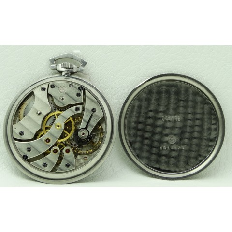 Pocket Watch Stainless Steel Black Dial, made 1930's