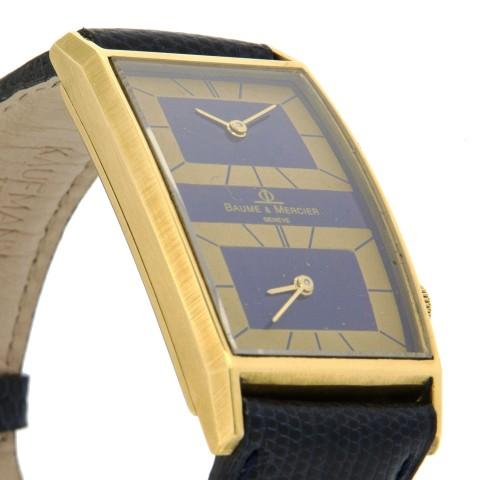 Rectangular Dual Time Zone, 18K Yellow Gold