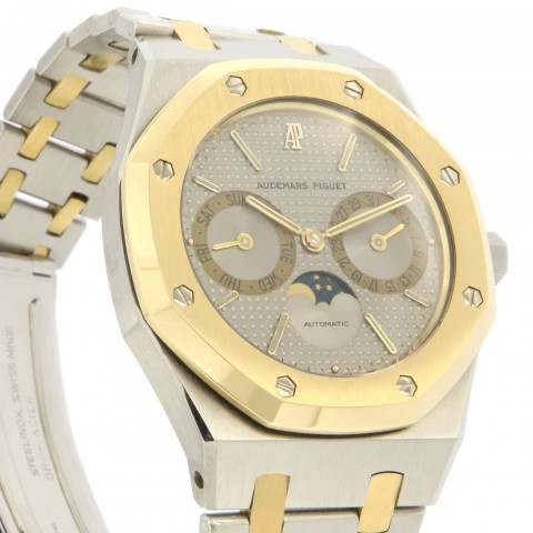 Royal Oak DayDate Moon phases, stainless steel and 18kt yellow gold, Ref. 25594SA, full set
