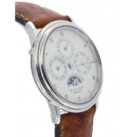 Villeret Perpetual Calendar and Moon phases, Stainless Steel, from 90s