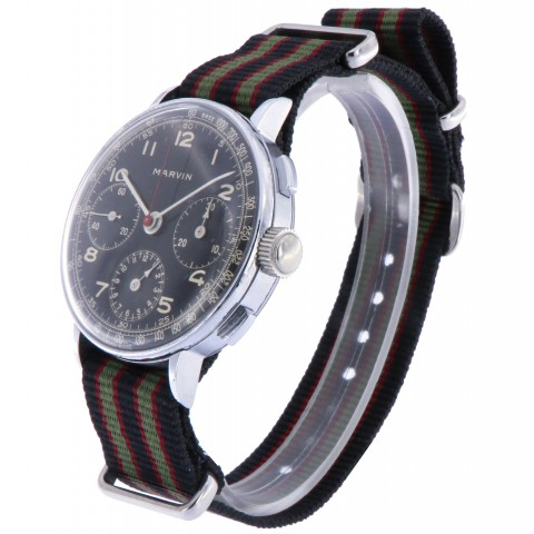 Vintage Chronograph Stainless Steel, glossy black dial, from 50s