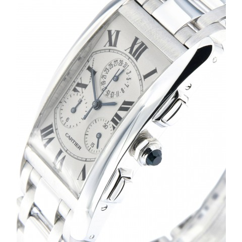 Tank Americaine Chrono, Full 18kt White Gold with Box