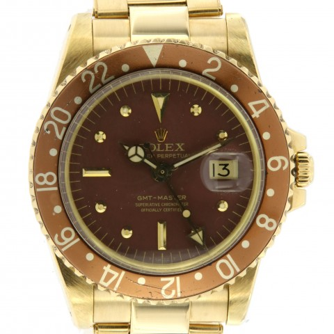 GMT Master ref.1675 Brown dial, in yellow gold from 1971