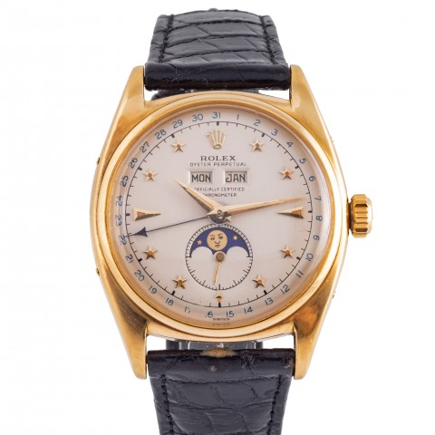 """Ref. 6062 Oyster Moonphase Star Dial so called  """"Stelline"""" 18 k yellow gold"""